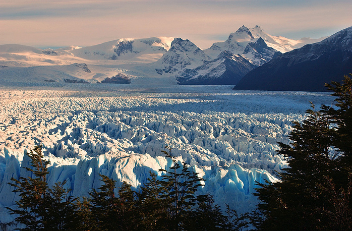 Perito Moreno Glacier seen as it decends into the Argentino Lake from an observatory in the Los Glaciares National Park, Argentina