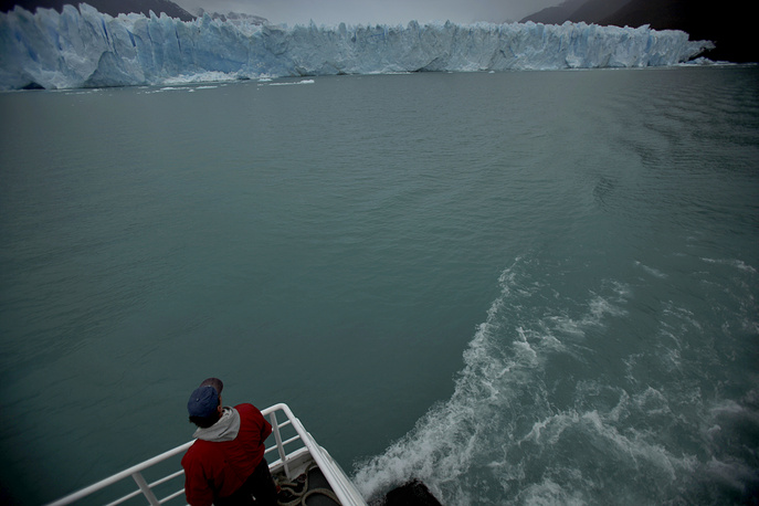 Perito Moreno Glacier periodically advances over the lake, and then breaks off