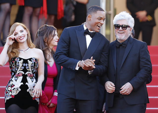 Jury members, US actress Jessica Chastain, US actor Will Smith and Spanish director Pedro Almodovar