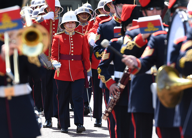 Canadian Captain Megan Couto heading for the Changing of the Guard ceremony at Buckingham Palace in London, Britain, June 26. Megan Couto, will be the first female soldier in history to become Captain of the Guard