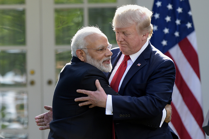 US President Donald Trump and Indian Prime Minister Narendra Modi hug while making statements in the Rose Garden of the White House in Washington, USA, June 26