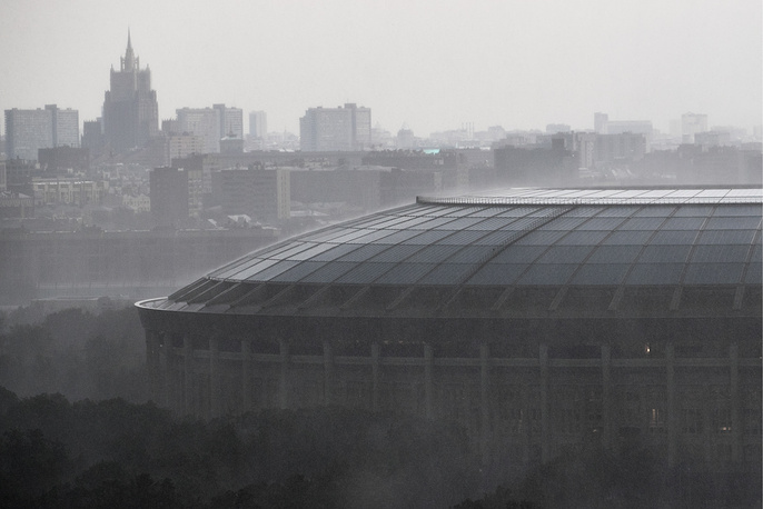 A view of the Luzhniki Olympic Complex in the rain
