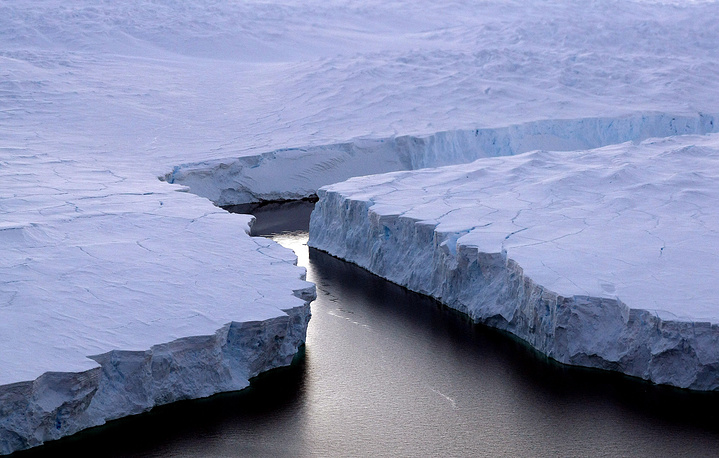 An enormous iceberg, right, broken off the Knox Coast in the Australian Antarctic Territory in 2008