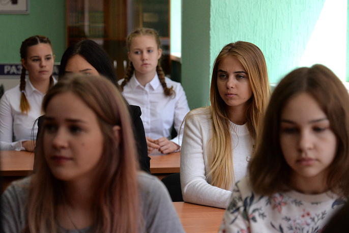 Girls on a tour at Air Force Academy in Voronezh