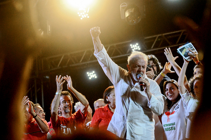 Former Brazilian President Luiz Inacio Lula da Silva participates in a rally with his supporters in Mossoro, Rio Grande do Norte state, Brazil, August 28