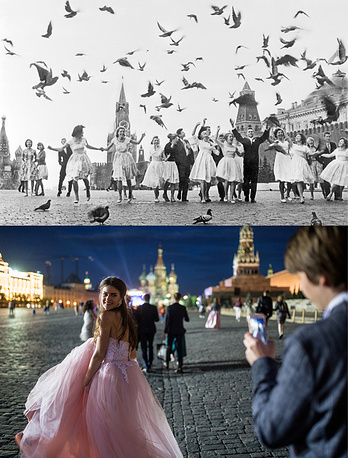 School leavers Moscow's Red Square in 1961 and  in 2017