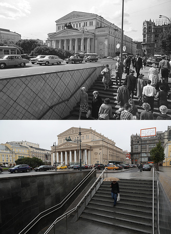 A view of the Bolshoi Theatre in 1967 and in