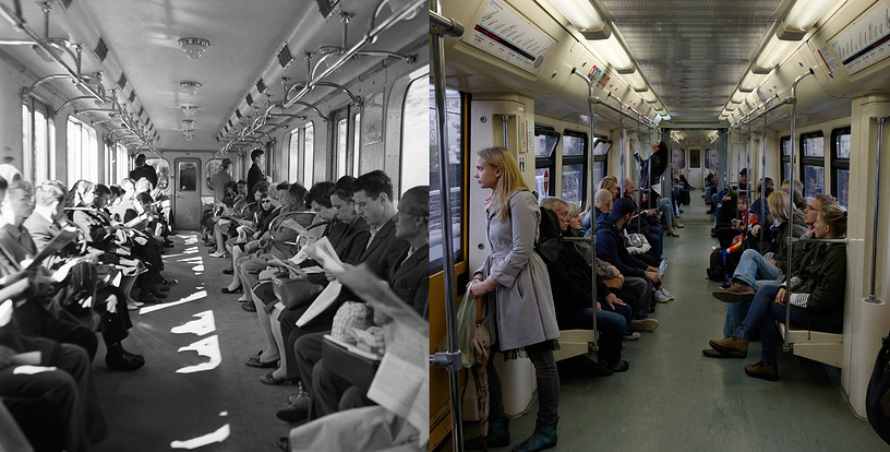 Moscow commuters on an underground train in 1969 and in 2017
