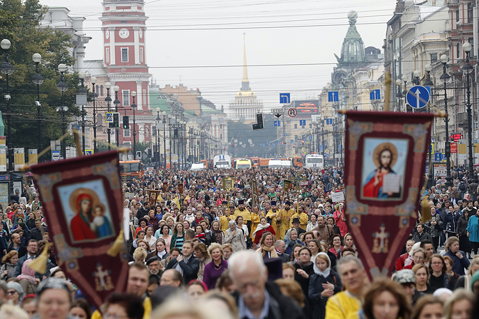 Orthodox believers participate in a procession in St. Petersburg, Russia, September 12. The procession marks the 293rd anniversary of the transfer of the relics of St. Alexander Nevsky, who is considered to be a heavenly protector of St. Petersburg