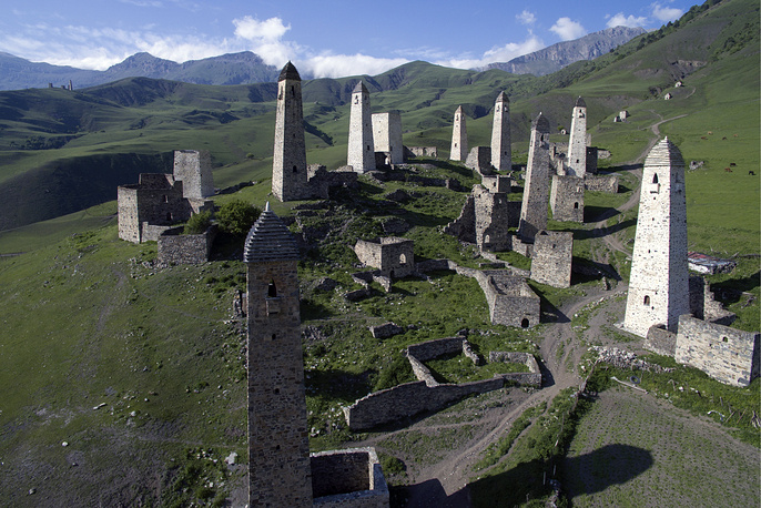 Erzi, a complex of medieval Ingush towers, in the Caucasus Mountains, Dzheirakh District, Ingushetia