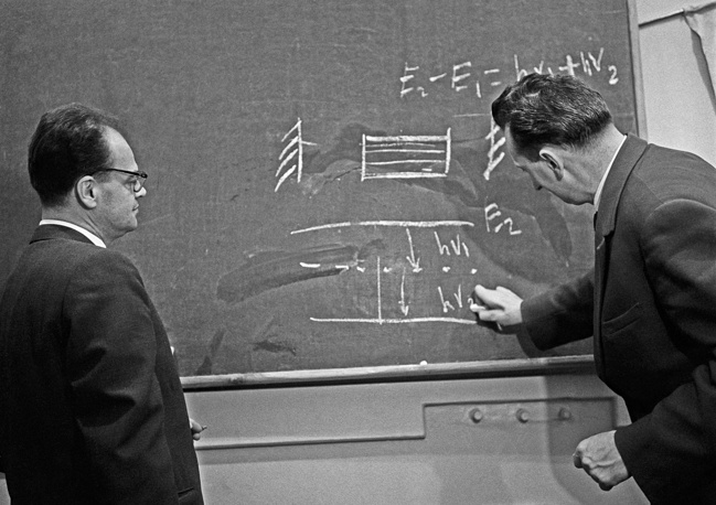 """Soviet physicists Nicolay Basov and Aleksandr Prokhorov were jointly awarded the Nobel Prize in Physics in 1964 """"for fundamental work in the field of quantum electronics"""""""