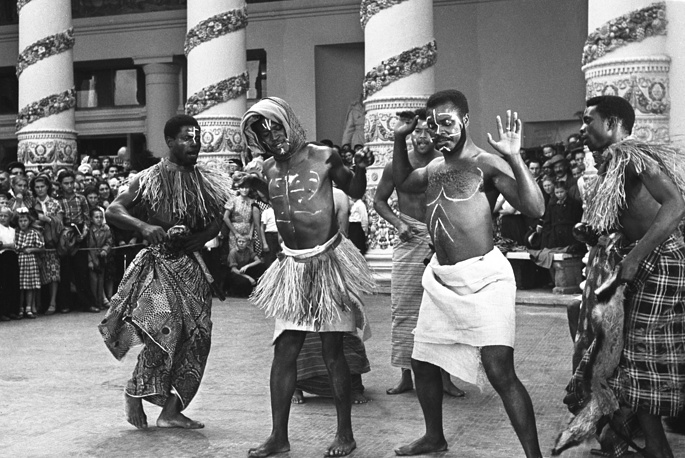 Concert of delegates from Africa at the VDNKh exhibition center, 1957