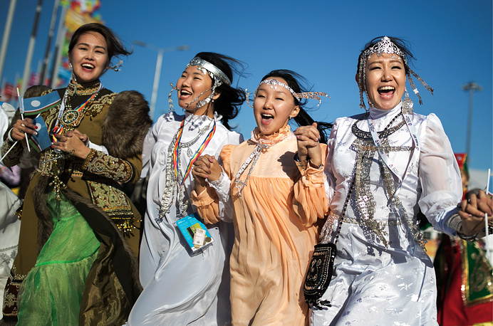 Girls in the Olympic Park during the 2017 World Festival of Youth and Students, Sochi, Russia, October 16