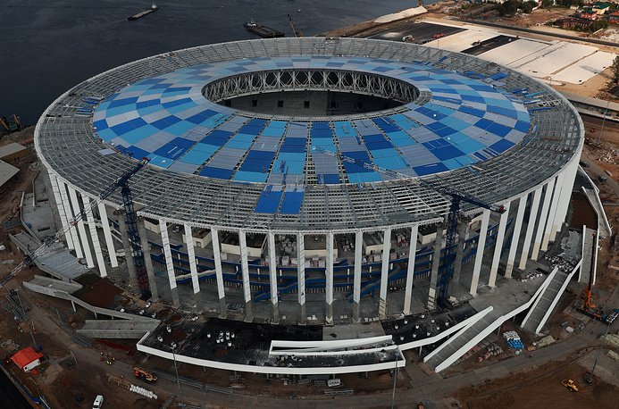 An aerial image of the construction site of Nizhny Novgorod Stadium