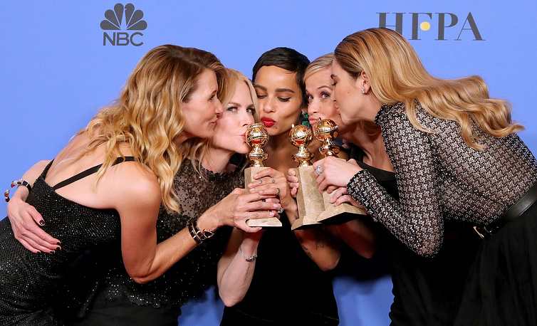 Actresses Laura Dern, Nicole Kidman, Zoe Kravitz, Reese Witherspoon and Shailene Woodley of 'Big Little Lies,' winner of the award for Best Television Limited Series or Motion Picture Made for Television at the 75th annual Golden Globe Awards ceremony in Los Angeles, US, January 7. Actors and actresses arrived to the ceremony wearing black to make a statement against sexual harassment