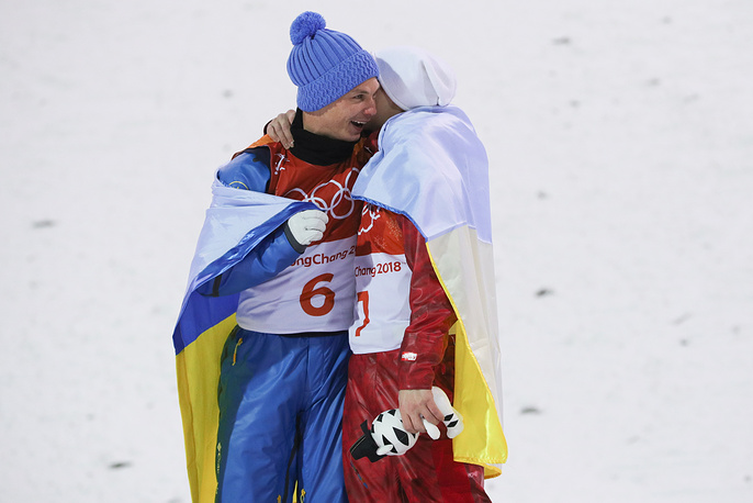 1st placed freestyle skier Oleksandr Abramenko of Ukraine and 3rd placed Olympic Athlete from Russia Ilya Burov seen after the men's freestyle skiing aerials event at the 2018 Winter Olympic Games, at Phoenix Snow Park, Pyeongchang, South Korea, February 18