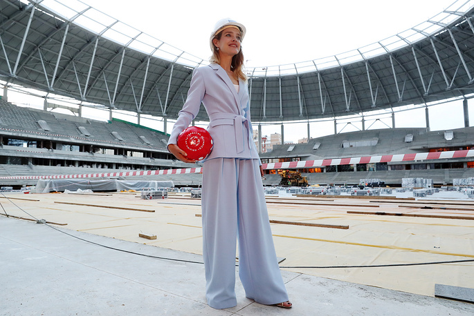 Natalia Vodianova also became 2018 FIFA World Cup Ambassador. Photo: Natalia Vodianova seen at Dynamo Stadium in Moscow