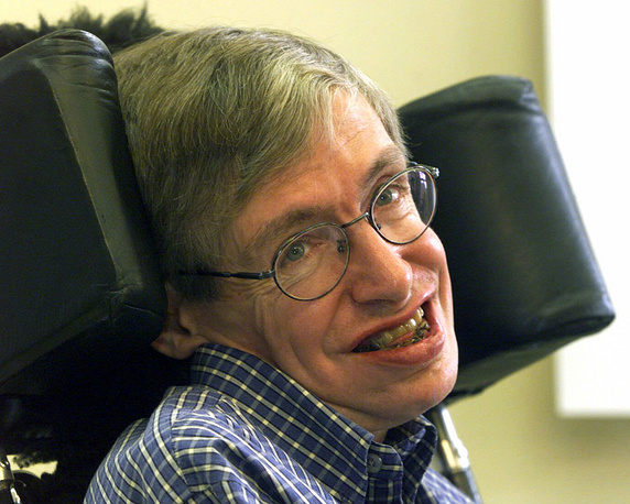He worked on gravitational singularity theorems in the framework of general relativity and the theoretical prediction that black holes emit radiation, often called Hawking radiation. Photo: Stephen Hawking at the University of Potsdam, Germany, 1999