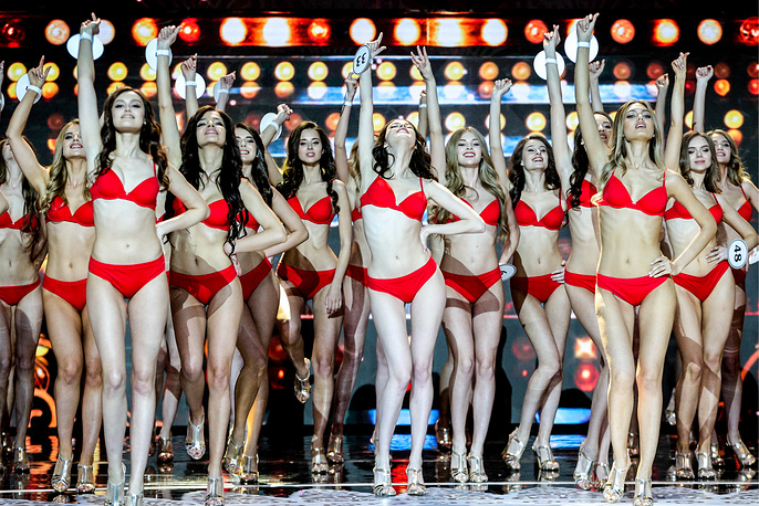 Contestants appear on stage in swimsuit at the final show of the 2018 Miss Russia National Beauty Contest