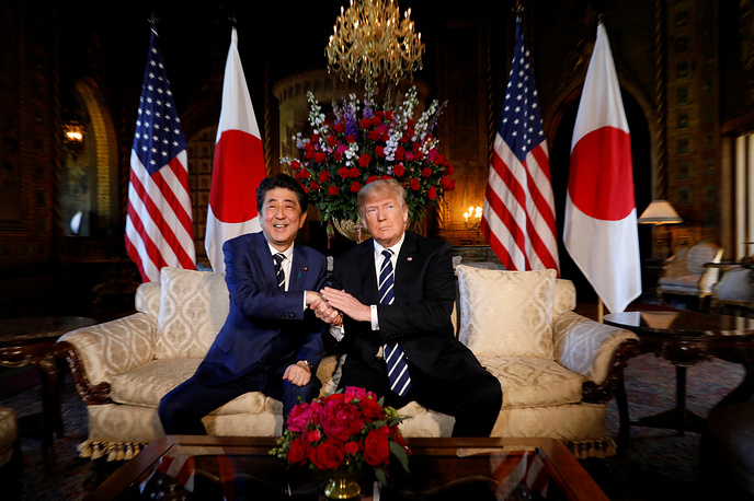 US President Donald Trump hosts a bilateral meeting with Japan's Prime Minister Shinzo Abe at Trump's Mar-a-Lago estate in Palm Beach, April 17