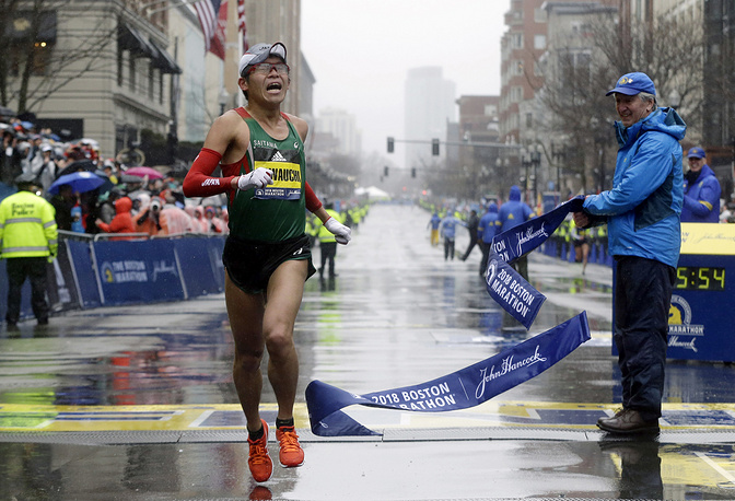 Yuki Kawauchi, of Japan, wins the 122nd Boston Marathon, April 16. He is the first Japanese man to win the race since 1987