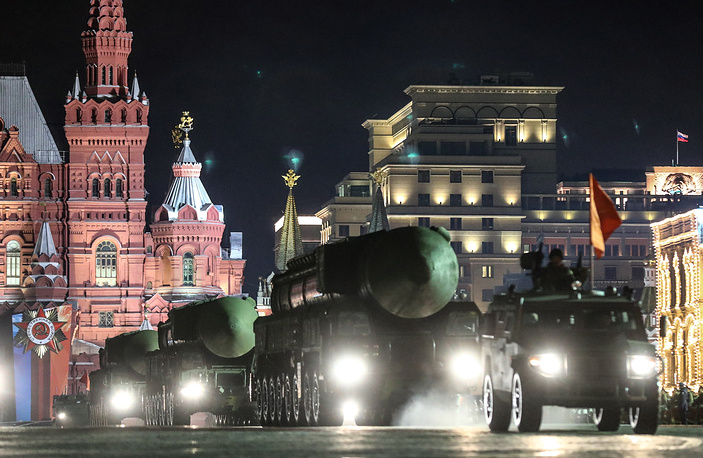 A Smerch multiple rocket launcher system rolling down Moscow's Red Square