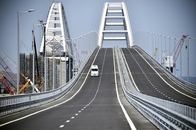 A view of the new bridge linking Russia and the Crimean peninsula prior to its opening ceremony
