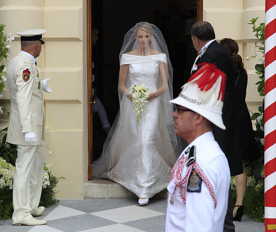 Monaco's Princess Charlene arrives for the religious wedding ceremony with Prince Albert II at the Palace in Monaco, July 2, 2011