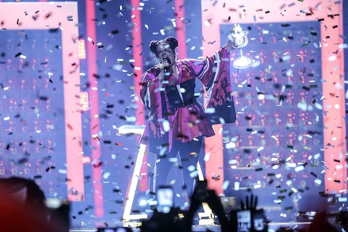 Netta representing Israel with 'Toy' performs after she won the Grand Final of the 63rd annual Eurovision Song Contest at the Altice Arena in Lisbon, Portugal, May 12