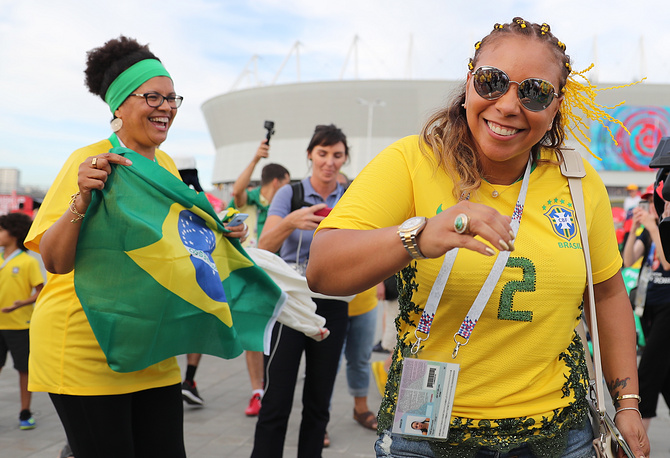 Brazilian football fans outside Rostov Arena before a First Stage Group E football match between Brazil and Switzerland