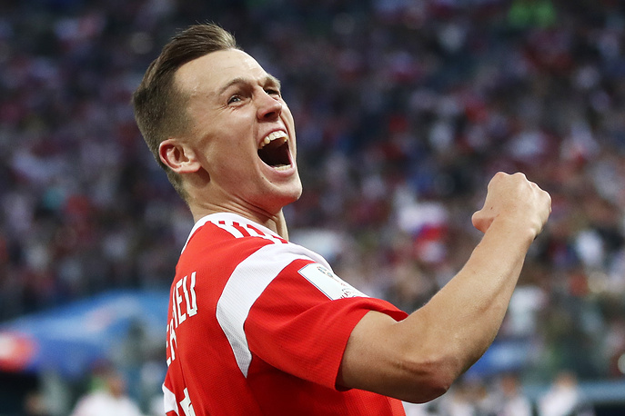 Russia's Denis Cheryshev celebrates scoring in the group A match against Egypt at St Petersburg Stadium
