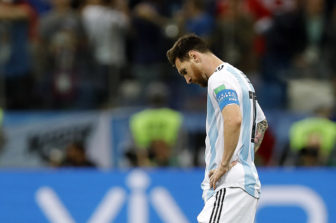 Argentina's Lionel Messi in group D match between Argentina and Croatia at Nizhny Novgorod Stadium at FIFA World Cup Russia 2018. Croatia won 3-0