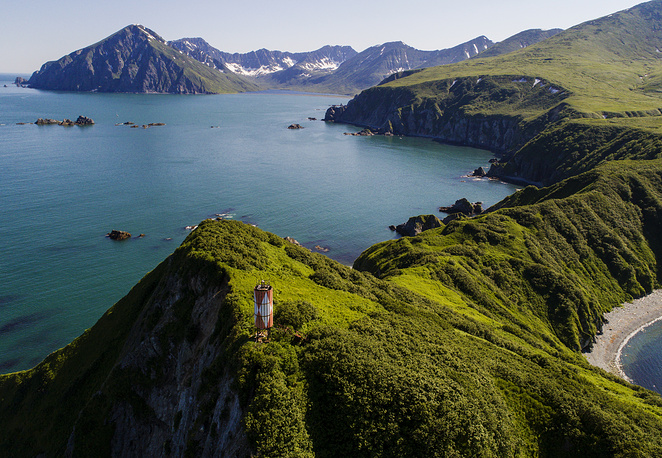 An aerial view of a Shipunsky Peninsula cape on Morzhovy Island in the Kronotsky Gulf