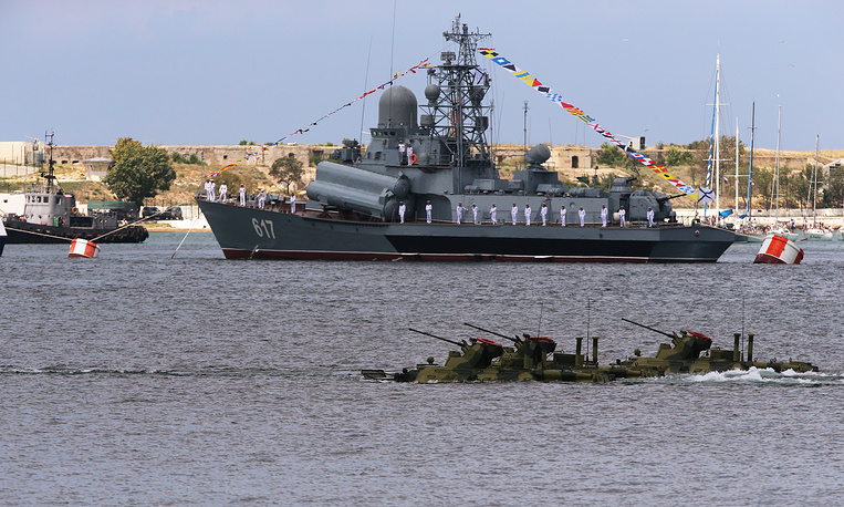 Mirazh small missile ship takes part in the dress rehearsal of a parade marking the Day of the Russian Navy in Sevastopol