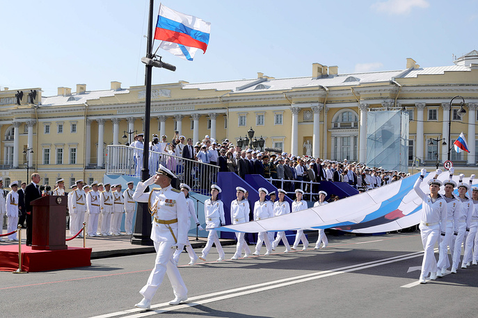 Russia's President Vladimir Putin seen ahead of the main naval parade marking Russian Navy Day in Saint Petersburg