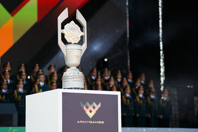 The trophy at the opening of the 2018 International Army Games