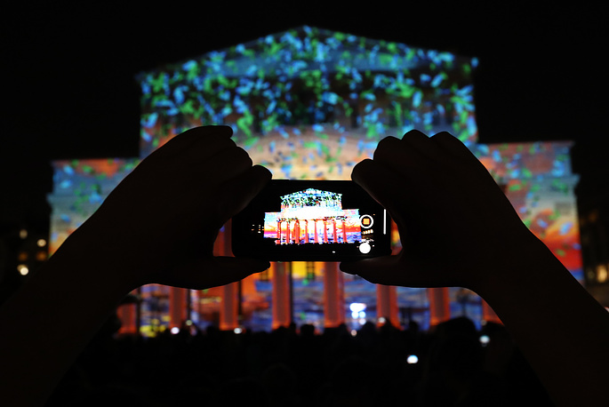 The Circle of Light Moscow International Festival kicked off on September 21. Photo: A view of the Bolshoi Theatre facade illuminated as part of the 2018 Circle of Light festival