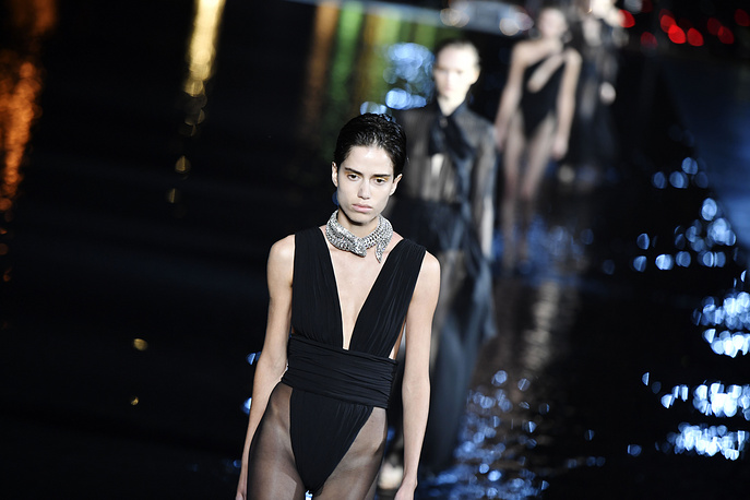 A model presents a creation by Belgium designer Anthony Vaccarello for Yves Saint Laurent fashion house