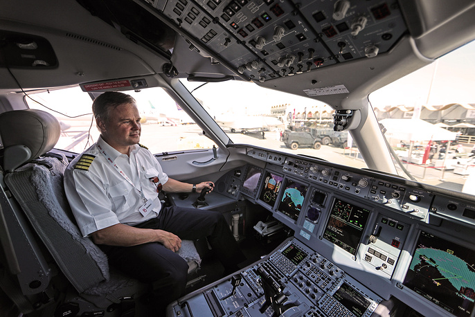 The cockpit of a Sukhoi Superjet 100 aircraft (SSJ100) of the Yamal Airlines