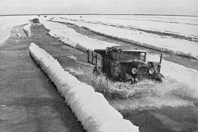 GAZ-AA trucks delivered along the Road of life of Ladoga Lake thousands tons of food, amunion and fuel to the besieged Leningrad and took children, old people and the wounded from the city