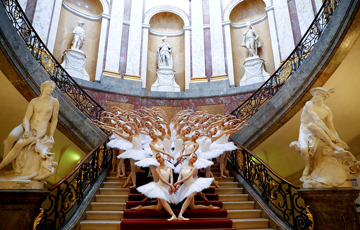 "Shanghai Ballet perform Swan Lake, as ""Greatest Swan Lake in the World"" instead of 16 swans, this production brings 48 swans on stage inside the Bode Museum to promote the ballet show's premiere in Berlin, November 29"