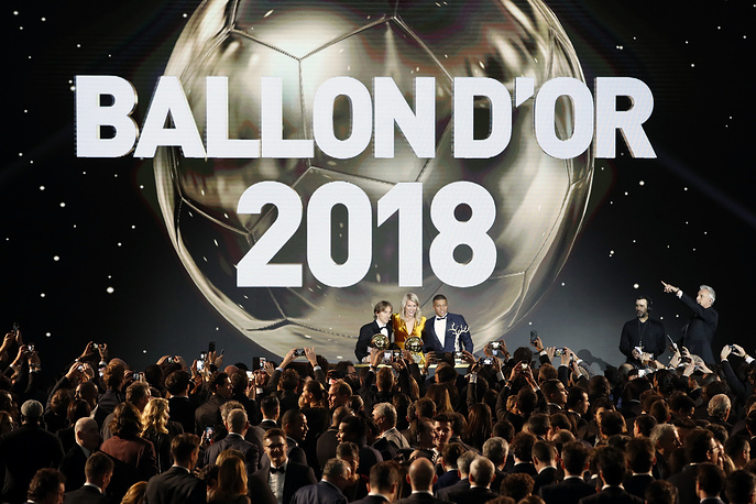 Olympique Lyonnais' Ada Hegerberg with the Women's Ballon d'Or, Real Madrid's Luka Modric, with the Ballon d'Or and Paris St Germain's Kylian Mbappe with the Kopa Trophy