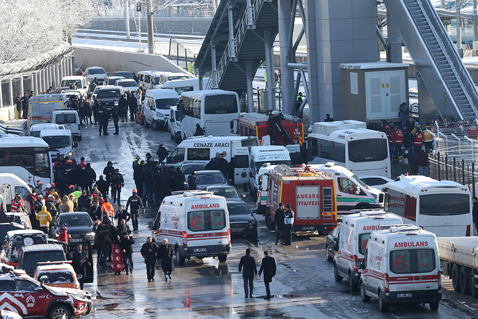 Emergency services at the scene of a high speed train accident in Ankara
