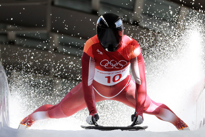 Olympic Athlete from Russia Nikita Tregubov competes in the men's skeleton event at the 2018 Winter Olympic Games at the Olympic Sliding Centre