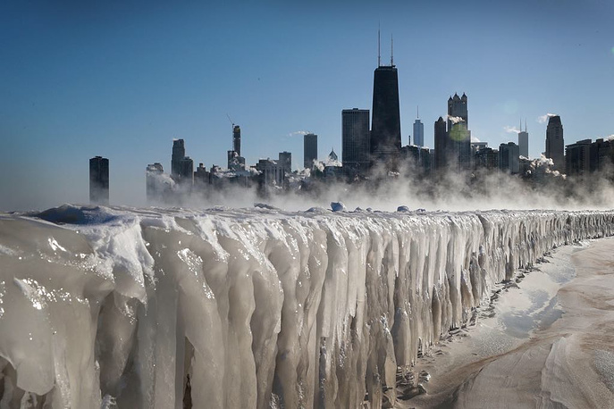 Ice covers the Lake Michigan shoreline in Chicago, January 30