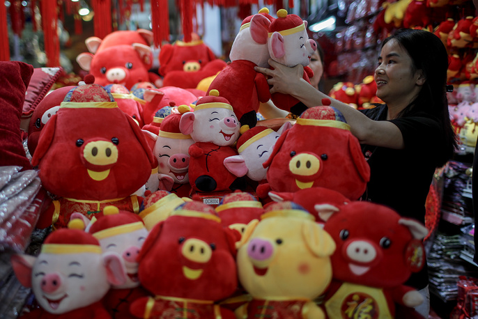 A woman looks at pig plush toys in a stall at the Chinatown district of Singapore