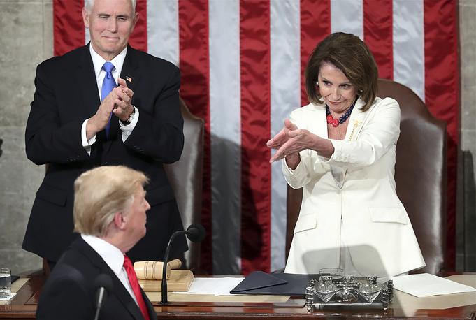 US President Donald Trump turns to House speaker Nancy Pelosi, as he delivers his State of the Union address to a joint session of Congress on Capitol Hill in Washington, February 5