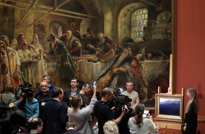 """Ai-Petri. Crimea"" painting by Russian artist Arkhip Kuindzhi returned to the Russian Museum, Saint Petersburg, March 4. The 1890s painting was stolen from the Tretyakov Gallery during an exhibition on January 27, 2019, and retrieved by the police shortly after"