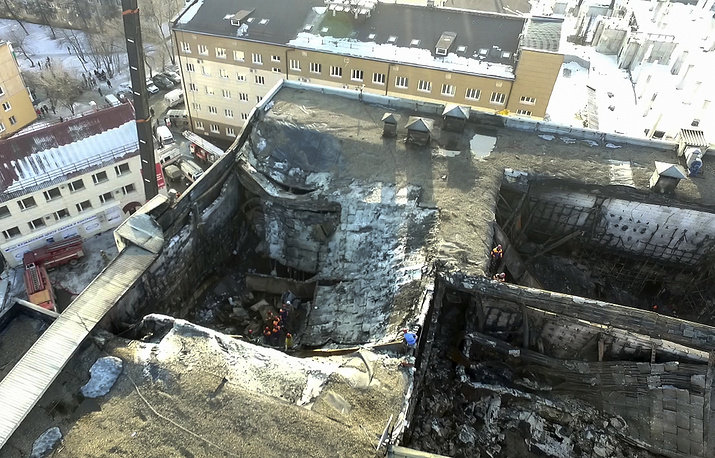 An aerial view of the multi-story shopping mall after the fire, Kemerovo, March 25, 2018
