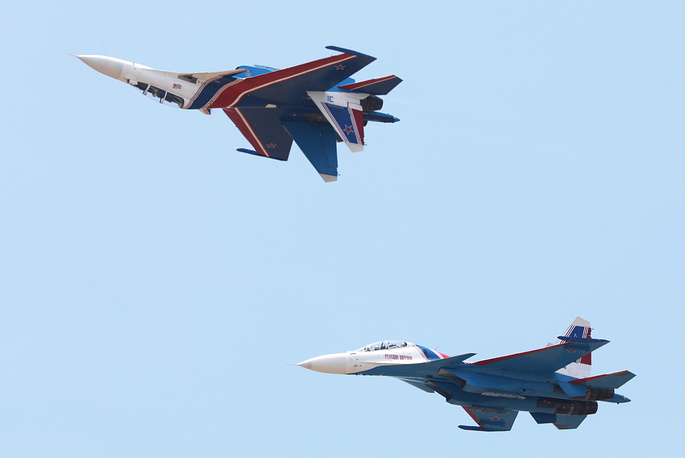 Sukhoi Su-30SM fighter aircraft of the Russkiye Vityazi [Russian Knights] aerobatic team performing in Malaysia